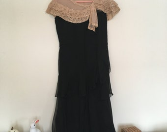 1930s black silk chiffon dress