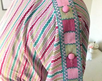 Sale - New Price - 70s 80s retro striped dress sz small medium