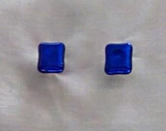 Royal blue dichroic glass post earrings