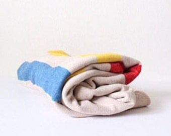 Vintage Hudson Bay-Style Blanket | Wool Striped Bedding | Throw | Red | Yellow | Blue | Cream | Wedding | Housewarming | Mother's Day