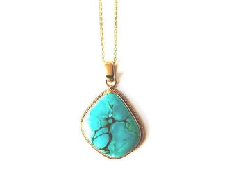 Turquoise Necklace - Gold Vermeil, On Sale!