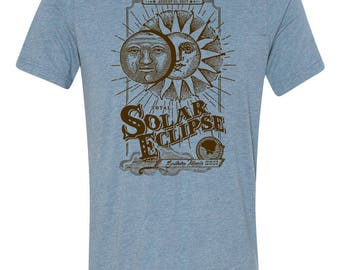Southern Illinois, Solar Eclipse, t-shirt, Vintage Sun, Moon, blue, Unisex, Crew neck, gift for him, gift for her, Carbondale, makanda