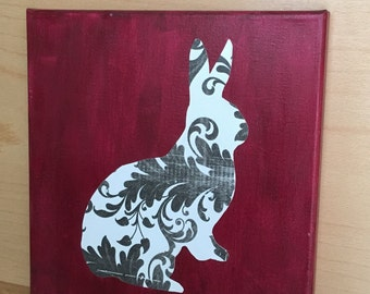 Hand painted rabbit silhouette on canvas 10x10