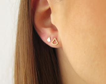 Tiny solid gold studs, 14K Triangle gold studs, 14K Gold Fan studs, Small gold studs, Geometric 14K gold earrings, Tiny triangle earrings