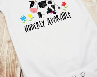 Udderly Adorable Cow Infant Bodysuit, Udderly Adorable, Cow Romper, Cow Bodysuit, Cute Newborn Outfit, Funny Baby Clothes, Farm Shirt, Dairy