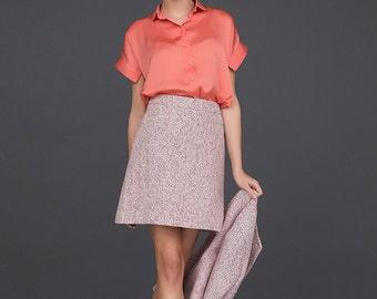 High Waisted Skirt / A Line Skirt / Stylish Pink Skirt by BATTIBALENO/ Q735