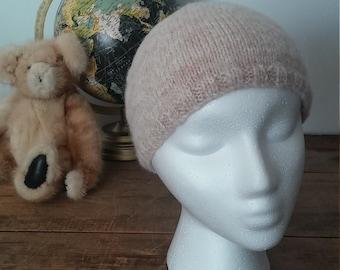 Bonnet/tuque de laine beige enfant