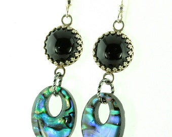 Black Onyx and Paua Shell Earrings with Sterling Silver