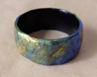 Blue, gold and green metallic painted paper mache bangle bracelet