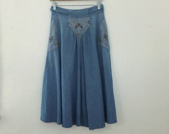 Vintage 1990s Blue Jean Circle Skirt with Decorative Cross Stitch