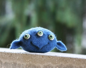 Emil - Cute blue monster, Soft toy, Woolen home decoration, Needle felted monster head, Handmade fridge magnet