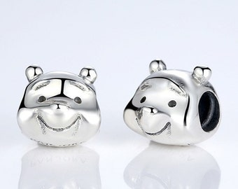 Authentic Sterling silver pooh bear charm beads perfect fit for pandora and troll or european bracelets