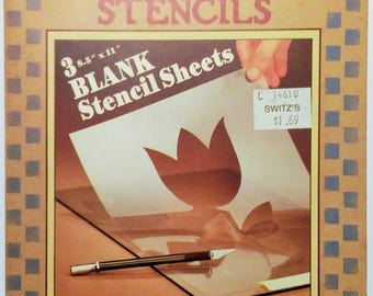 """Vintage Plaid Homespun 3 Blank Stencil Sheets   28219   5-1/2"""" x 8-1/2""""   1984"""