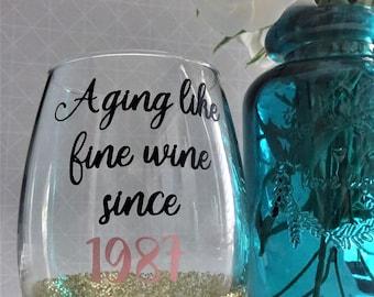 Aging like Fine Wine- Vinyl, stemless wine glass