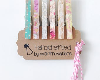 Clothespin Magnets, Clothespin Photo Clips, Refrigerator Magnets, Classroom Decor, Set of 6 w/ String, Shabby Chic