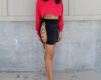 Velour Lace Up Skirt