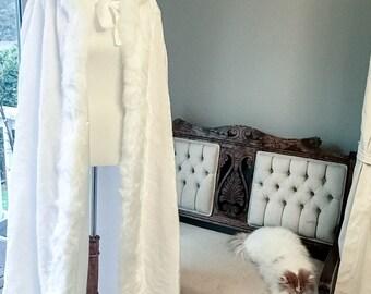 Romantic Winter Wedding Velvet White Cloak
