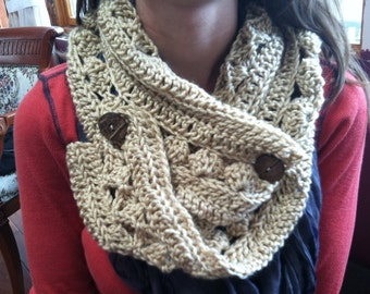 Wrap Scarf with brown buttons