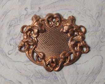 French Filigree Stamping Pendant or Charm for Enameling Simulated Guilloché 1 Piece Made in France 359J