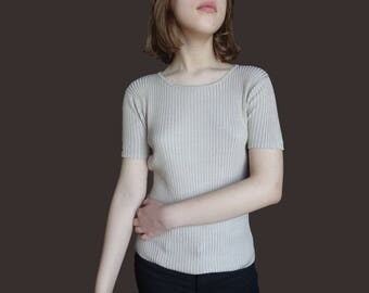 Pure Silk vintage top, beige silk top, vintage silk top, JACQUELINE FERRAR clothes, small silk top, minimal silk top, 1980 silk top XS S