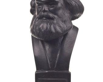 German Philosopher / Socialist Karl Marx Stone Statue / Bust 12.5cm (4.9'') black
