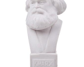 German Philosopher / Socialist Karl Marx Marble Statue / Bust 12.5cm (4.9'') white