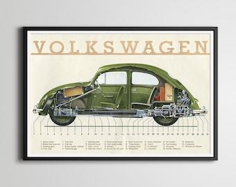 "1954-1957 Volkswagen Beetle POSTER! - Full Size (24"" x 36"") or smaller - VW Bug - Vintage Cars - Custom Prints - Original - Repurposed"