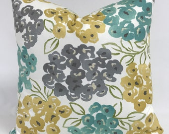 Pillow Cover - Modern Floral - Gray Gold Aqua Pillow - Fully Lined - Invisible Zipper
