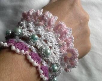 Unique Crochet Vintage / Boho Style Cuff Bracelet.