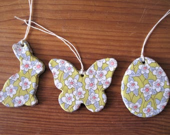 Easter tree decorations in Liberty print découpage