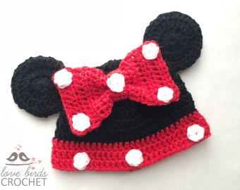 Crochet Baby Beanie Minnie Mouse Hat . Red and Black Baby Photo Prop