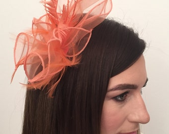 Alicia Coral Organza and Feather Fascinator on Headband Bridal Prom Races Race Day Wedding Hair Piece