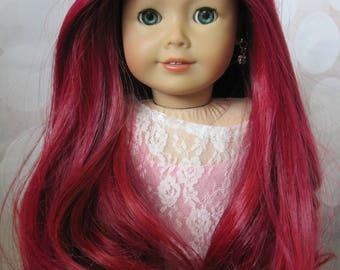 """OOAK 18"""" Custom American Girl Doll TM #57 Green Eyes Scarlet Red Rainbow Hair"""
