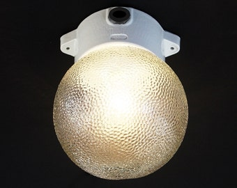 Vintage 1970s Ball Lamp with Relief-Glass Globe.