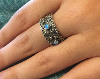 Silver Rainbow Moonstone Ring, Size 9,  Moonstone Ring, Hand Made