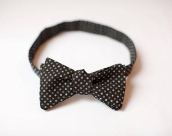 Black and Grey Polka Dot Bow Tie