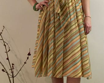 70s/Autumnal Colored Stripes/Cotton/Spunky Daydress/Medium