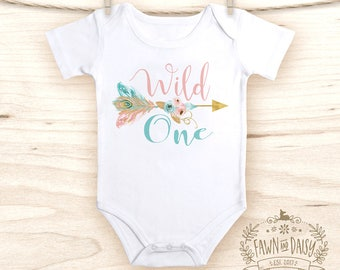 Wild One Birthday Outfit - Girls First Birthday Onesie® - Boho Baby Girl Clothes - Baby Shower Gift for Girl