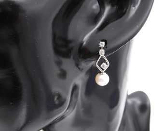Ladies 14 kt white gold earrings pendants with PEARL earrings 6 mm White River-Ladies 14 kt white gold with freshwater pearl