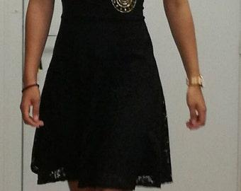 Black dress lace with yoke in wax/Black dress with yoke wax