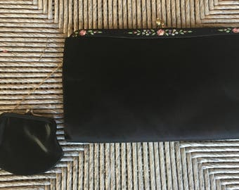 Beautiful Black Kiss lock Frame Clutch Bag Purse with Hand Painted Flowers on Frame and Coin Purse Attached Inside