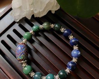 Moss Agate & Sodalite Yoga Mala Bracelet. Bohemian Color Changing Bracelet. Healing natural gemstone bracelet. Stretch bracelet. Wrist Mala.