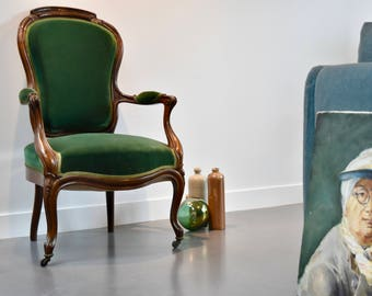 Armchair in Walnut Louis Philippe emerald green