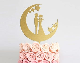 Engagement Cake Topper Silhouette Wedding Cake Topper Bride Groom Bridal Cake Topper Engagement Decoration Cake Topper Moon Couple Cake
