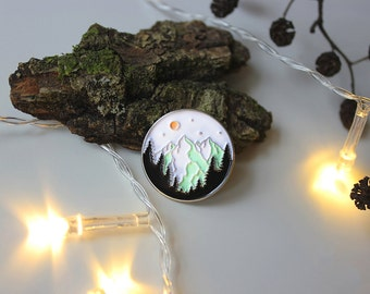 Enamel Pin Mountain Adventure | Mountain forest | Sunset illustration | Adventure | Exploring nature