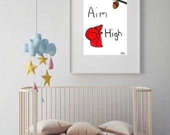 "Squirrel illustration nursery art print//baby shower//baby gift//nursery decor//nursery wall art//woodland nursery//""aim high"""