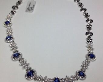 Estate GIA certified 18K Gold 15.36 CTW Diamond & Ceylon Blue Sapphire Necklace!