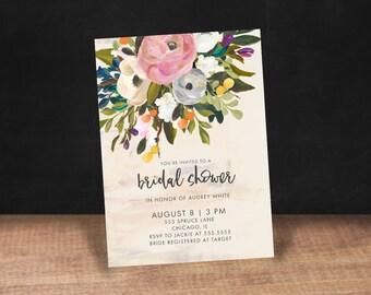 Bridal Shower Invitation, PINK WATERCOLOR Bridal Shower Invitation, Stationary, Floral, Watercolor, Shower Invite,