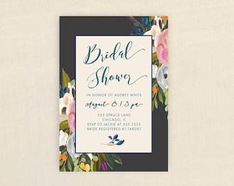 Bridal Shower Invitation, PINK BLUE FLOWERS Bridal Shower Invitation, Shower Invite, Pink, Floral, Blue,  Stationary