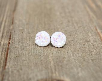 Druzy Earrings.  White druzy earrings.  Bridesmaids gift idea.